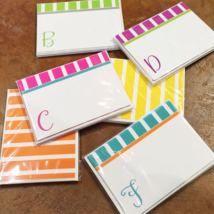Just for the summer cabana stripe initial note cards gift for 12 and theyre even better tied up with a matching le pen for a limited time just this summer these initial notes are available in bright solutioingenieria Choice Image